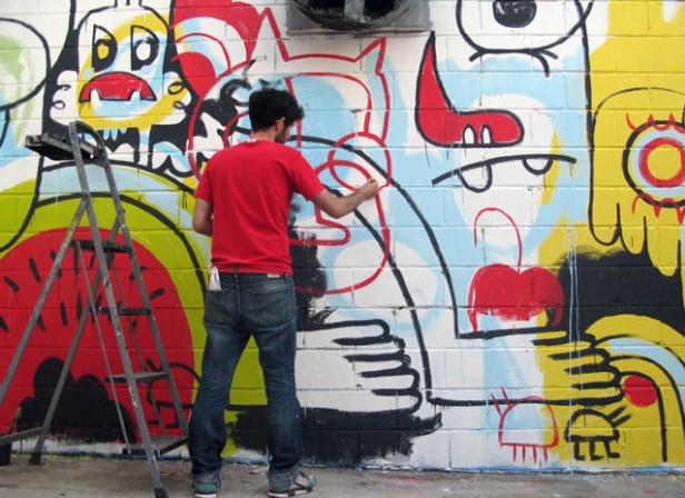 Jon Burgerman / Garden Of Eden Bushwick Mural, New York 2011