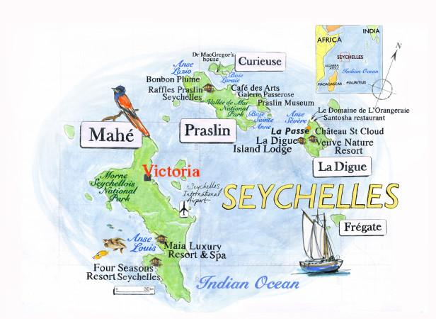 Seychelles Map / Conde Nast Traveller Magazine