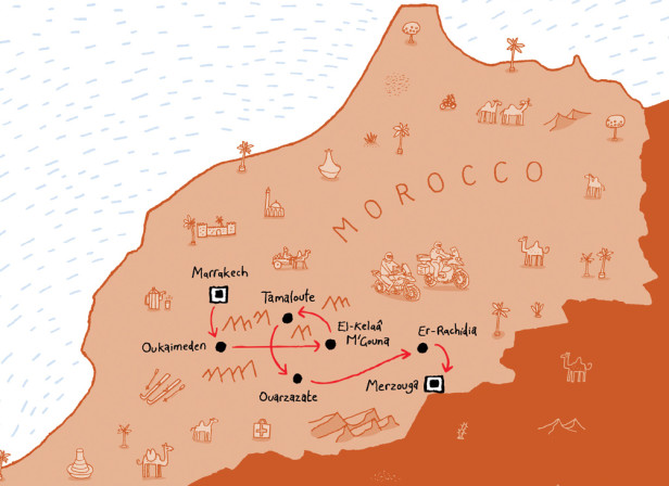 Hairy Bikers Morocco Map Route