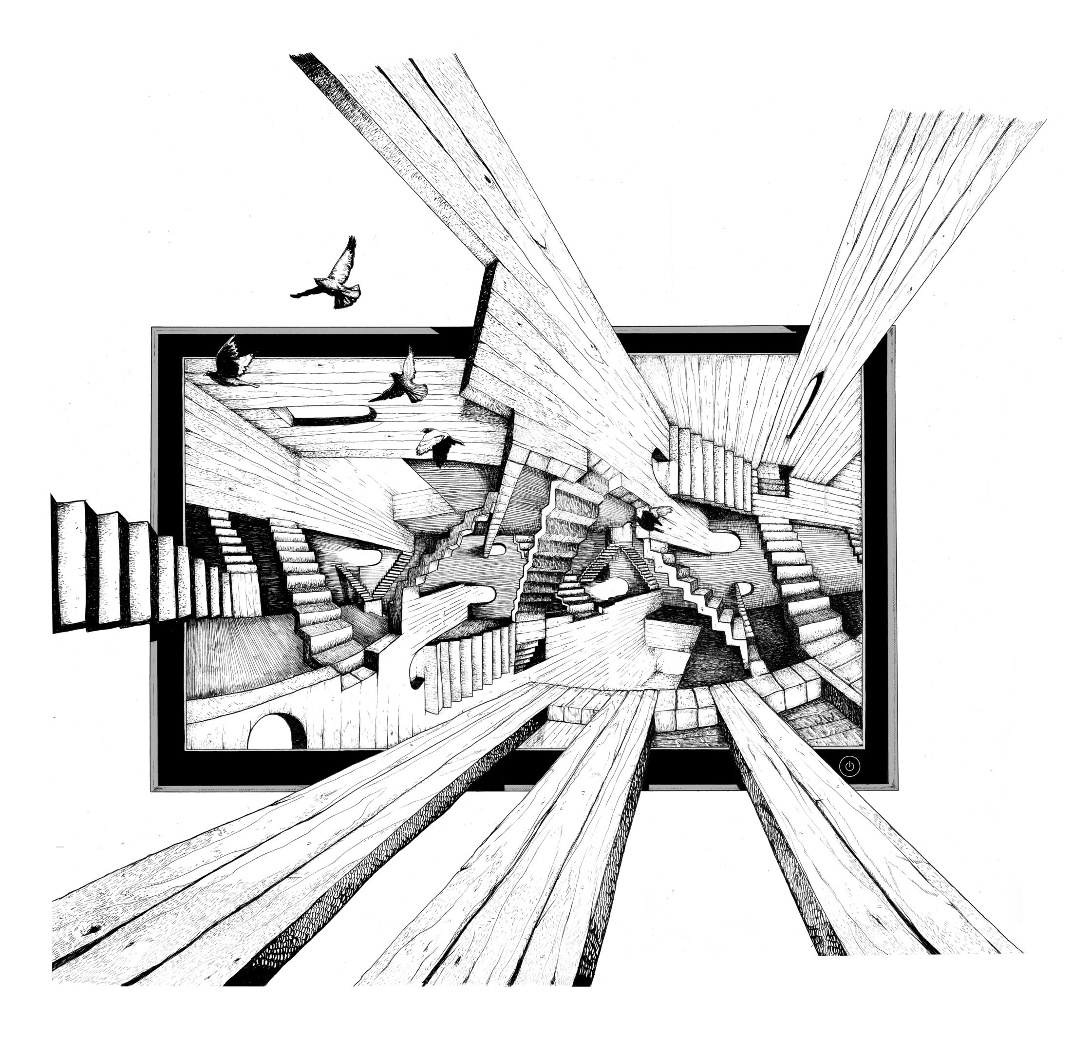 Edge Escher 3D TV