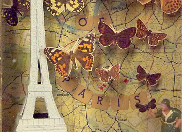 Butterfly Paris 3D Art Box Window