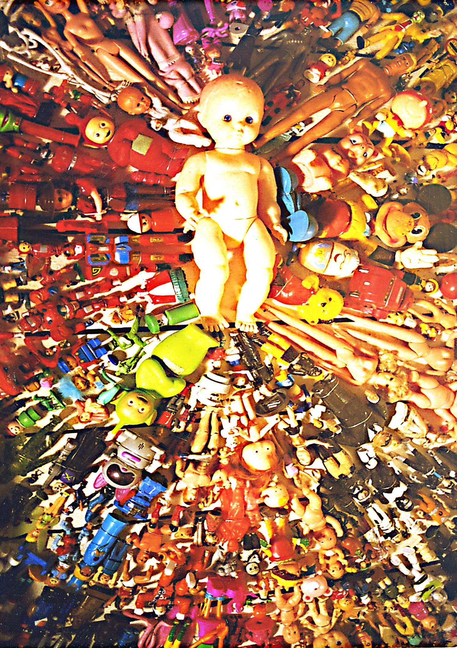 Plastic Toys Dolls Assemblage Art 3D