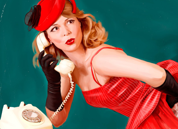 Pin Up Girl in Red Dress on Phone