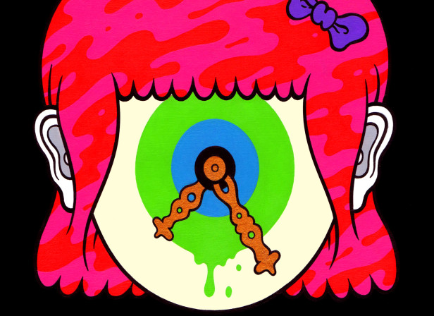 Revolving Eyeball Girl Head Face Clock Hair