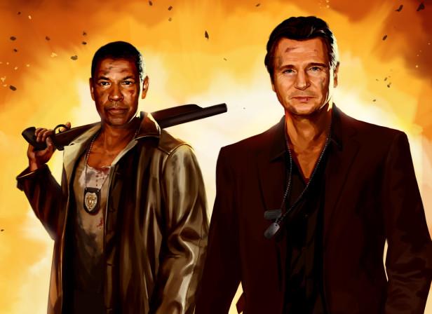 Action Denzel Washington Liam Neeson / Esquire Magazine