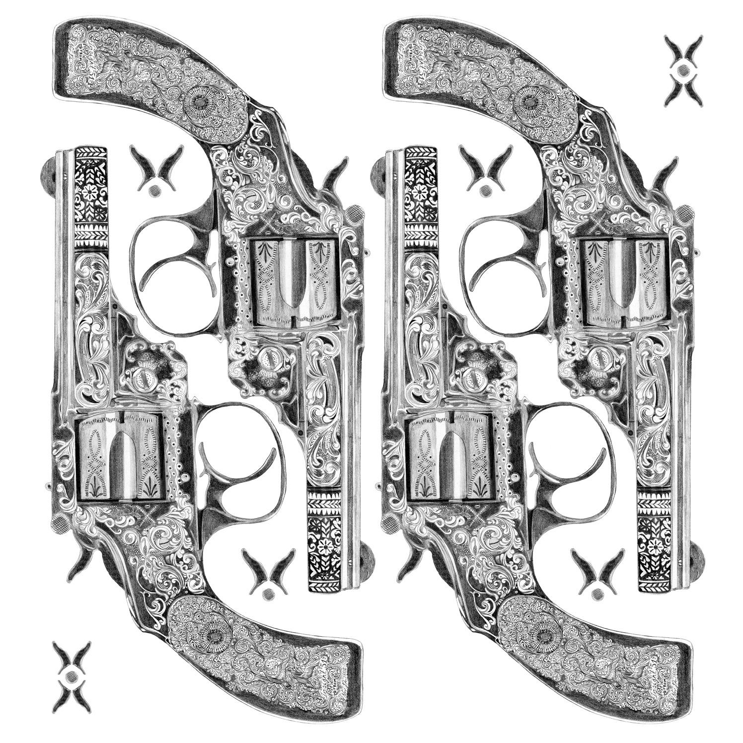 Insight51 Tshirt Print Decorated Pistol Gun