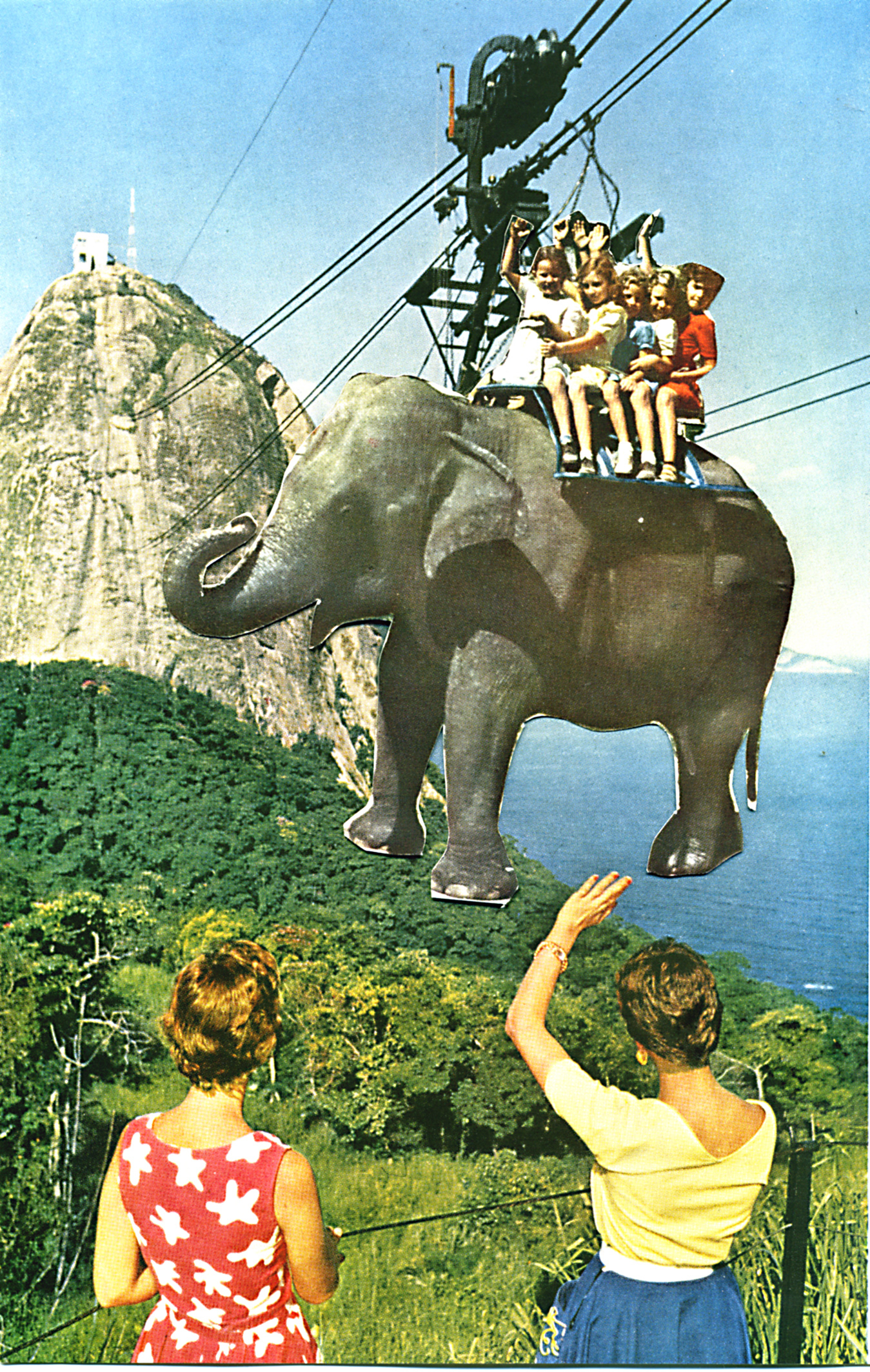 Elephant Cablecar Children Collage