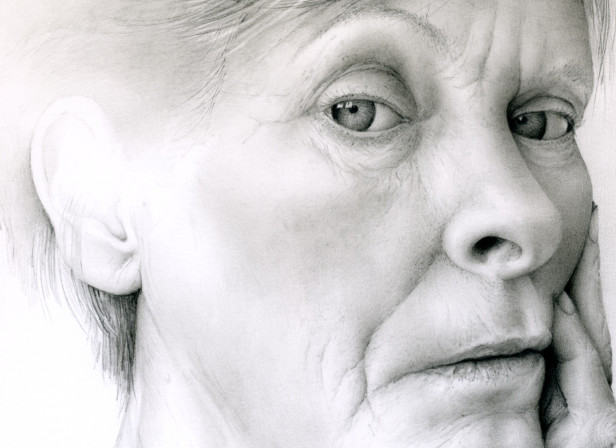 Woman Gazing Out Portrait Face Partial Drawing