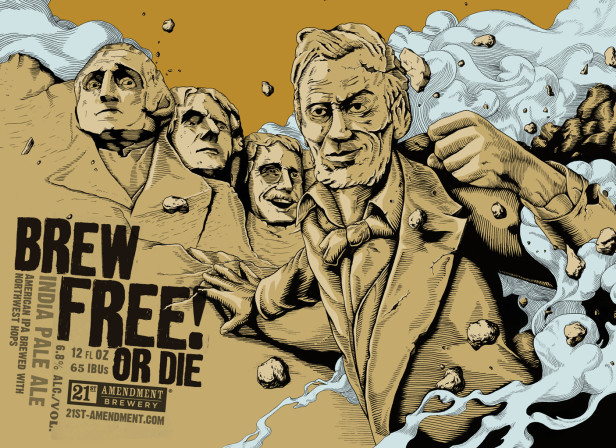 Brew Free Or Die - 21st Amendment Brewery Packaging