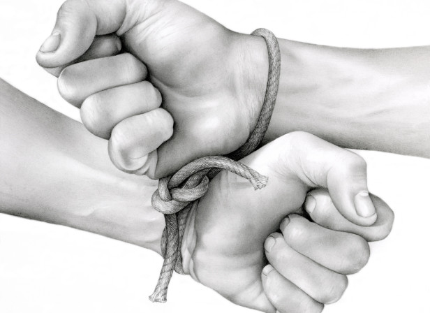 Hands Bound With Rope