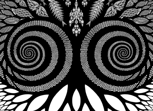 New Scientist Magazine Cover Fractal Life Black and White