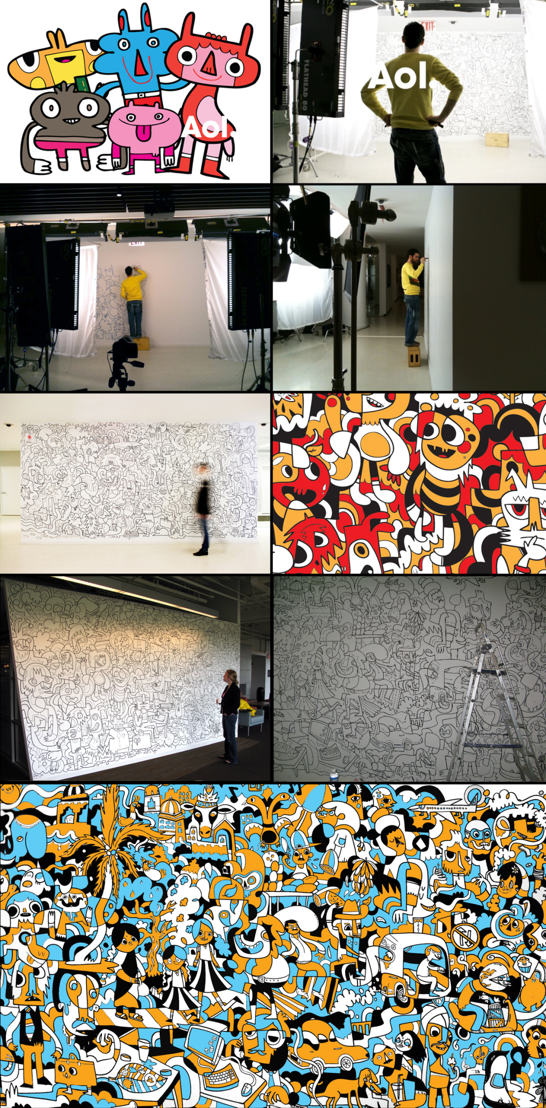 Jon Burgerman / Aol. Murals In New York, Washington + Bangalore