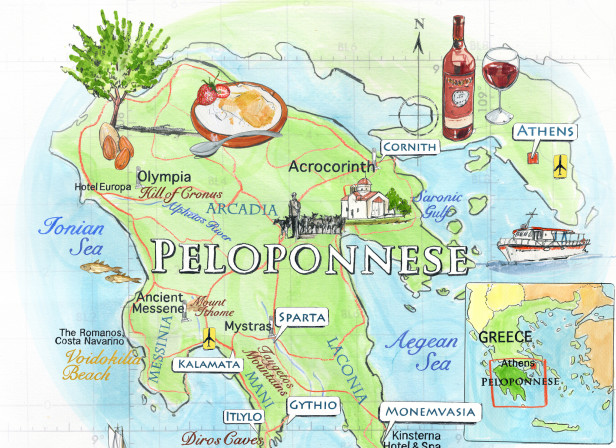 Peloponnese Map Conde Nast Traveller