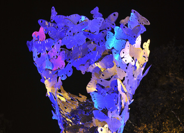 Silk Moths at Night Public Sculpture Salmon Properties