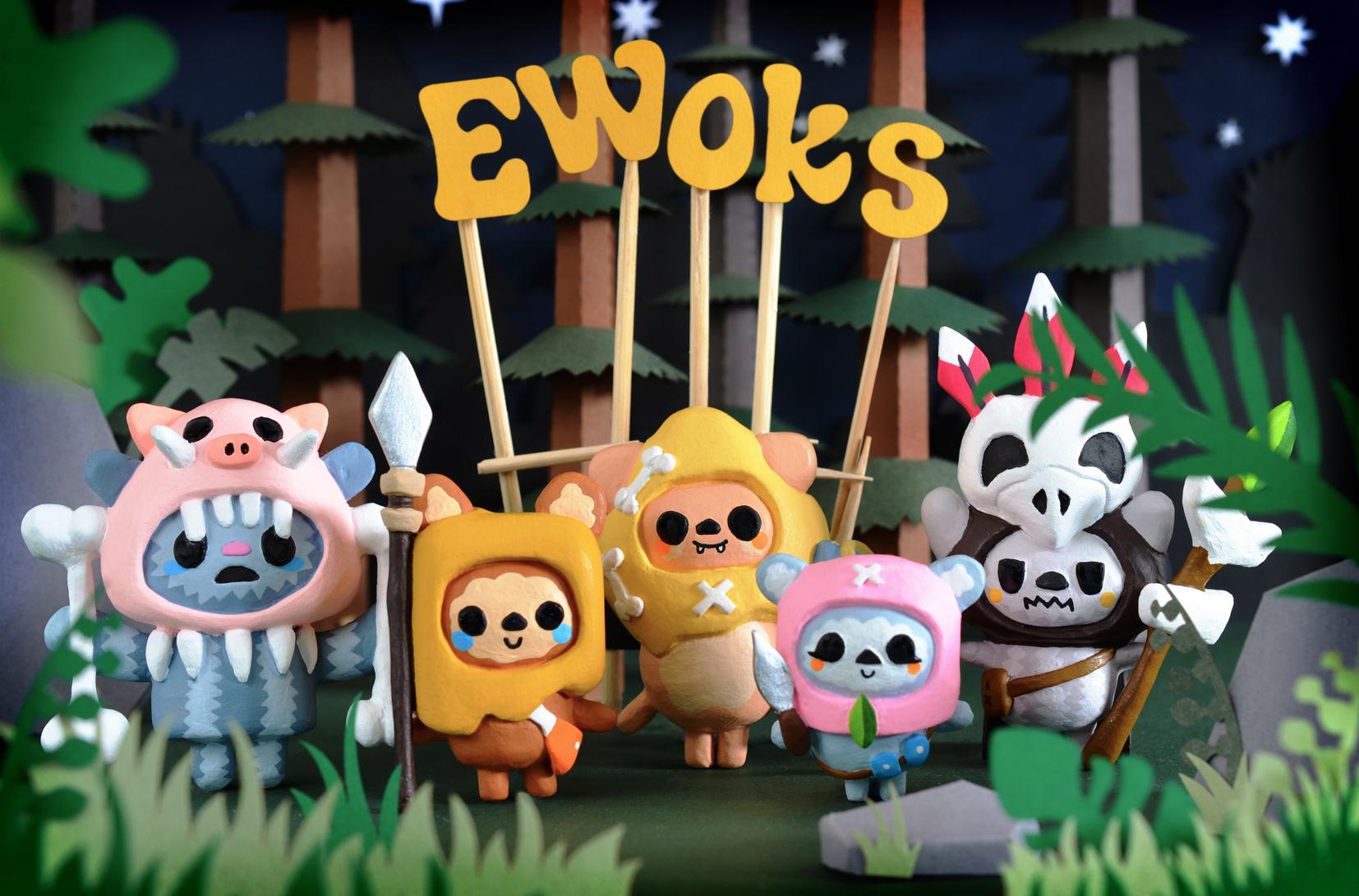 Paperclay Ewoks