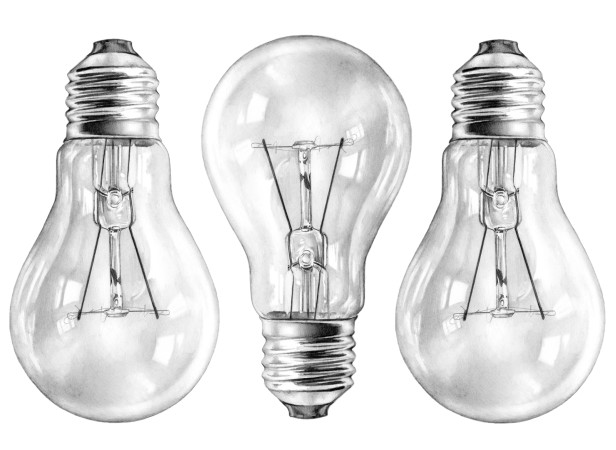 Three Glass Lightbulbs