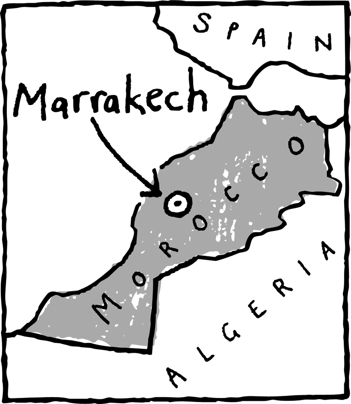 Marrakech Morocco Map Location - Dominic Trevett - Debut Art on map of africa, map of the us, map of greece, map of senegal, map of the mediterranean, map of tangier, map of atlantic ocean, map of gibraltar, map of fez, map of world, map of romania, map of marrakech, map of nicaragua, map of austria, map of mali, map of algeria, map of honduras, map of saint martin, map of western sahara, map of mongolia,