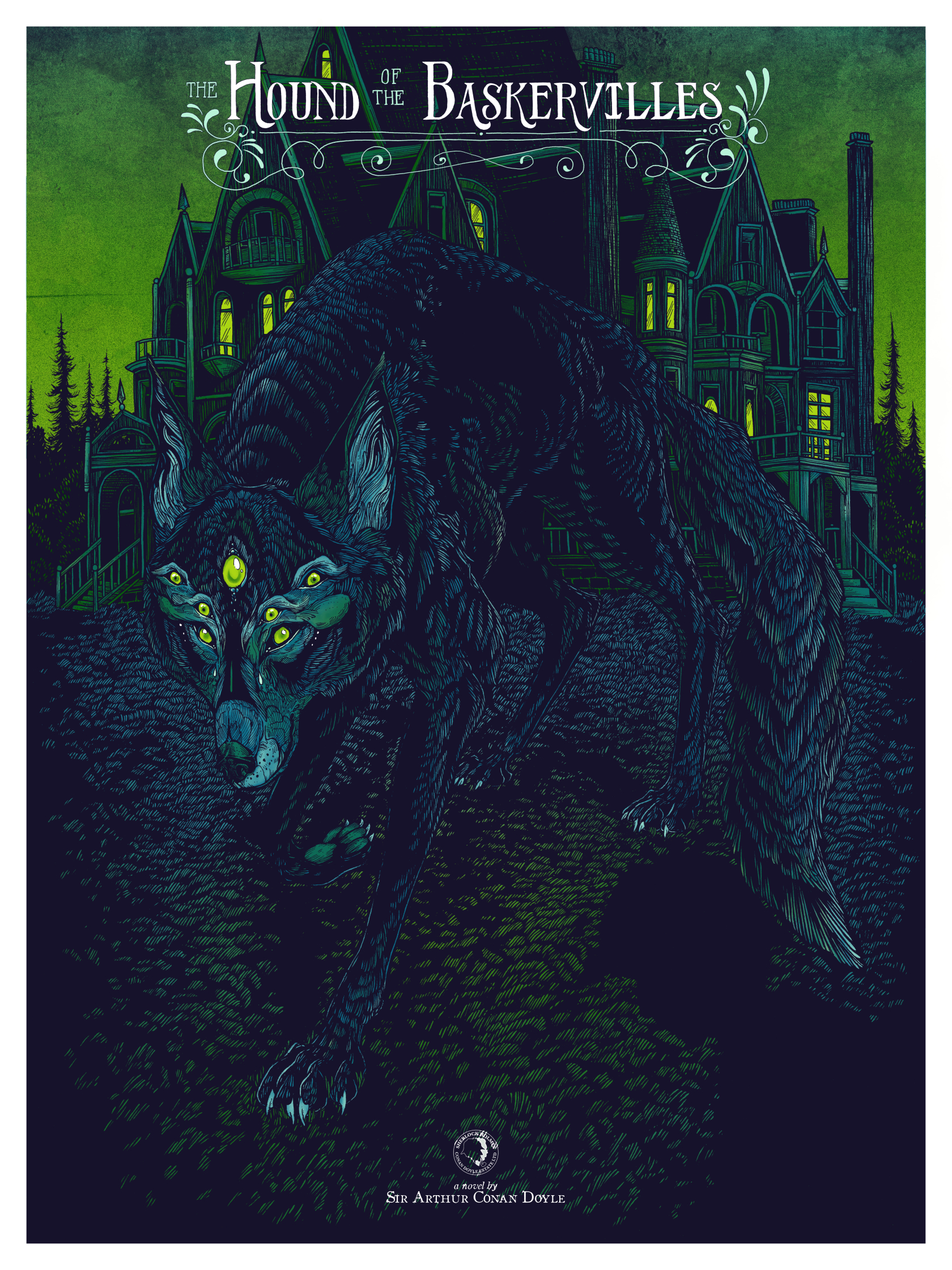 Black Dragon Press - Arthur Conan Doyle- Hound Of Baskervilles - Screen Printed Poster - Erica Williams- Variant.jpg
