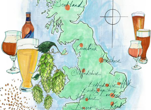 British Beer And Ale Producers Map / Waitrose Food Illustrated