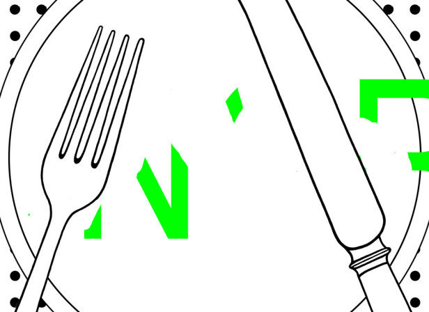 Hungry With Fork And Knife Green Type