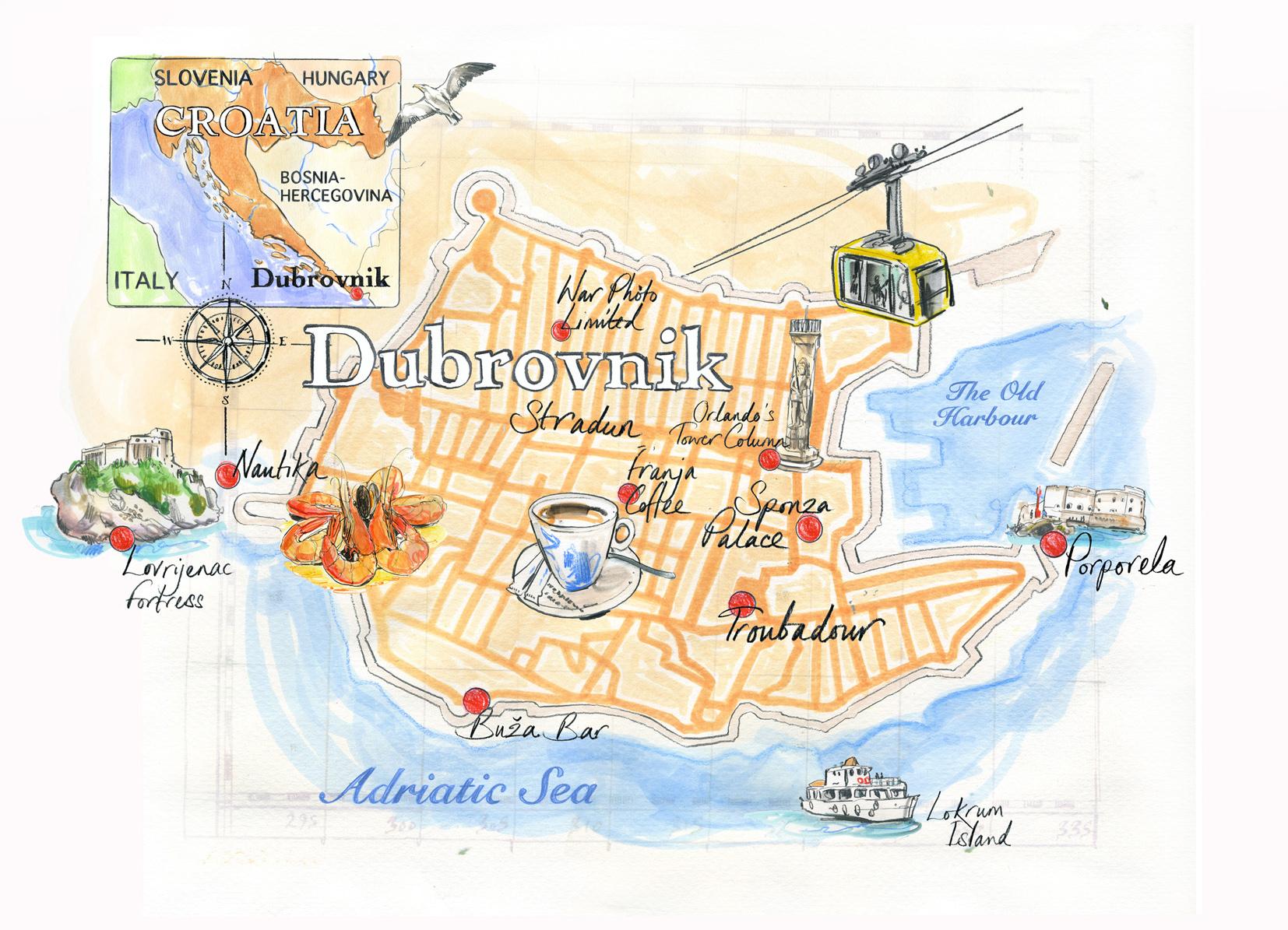 Dubrovnik Map / Conde Nast Traveller Magazine