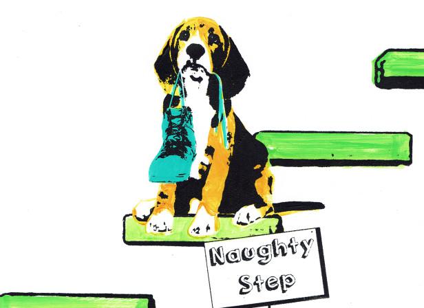 roomzzz_naughty_step_dog_puppy_chewed_shoe_screenprint_katie_edwards_illustration.jpg