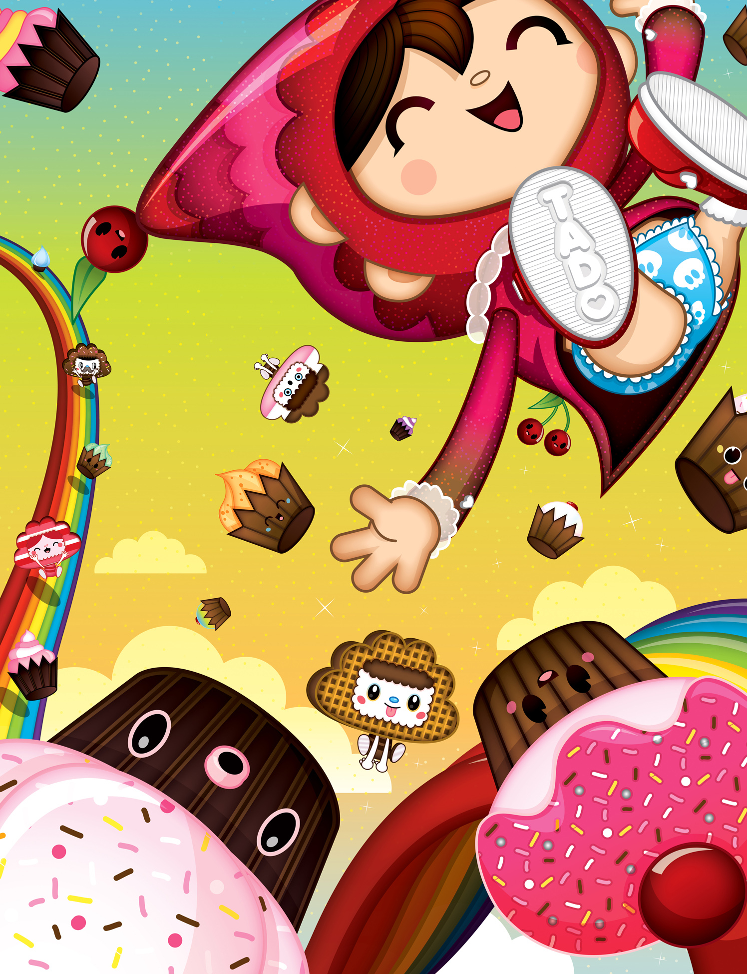 Kawaii Rainbow Cupcake Girl
