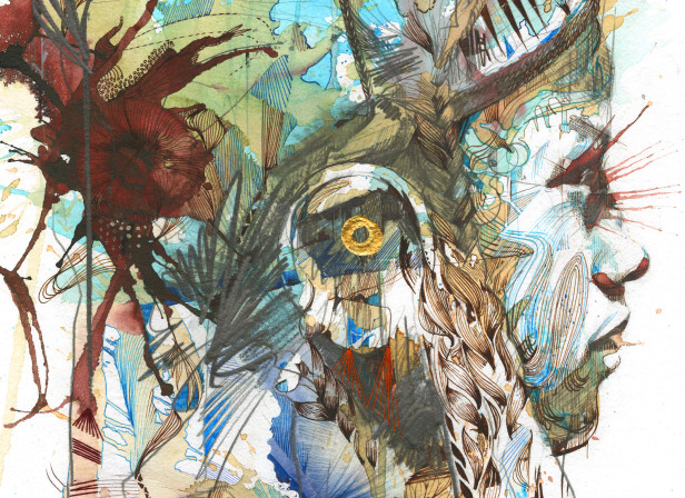 Carne Griffiths Faces Loose Floral Artists Debut Art