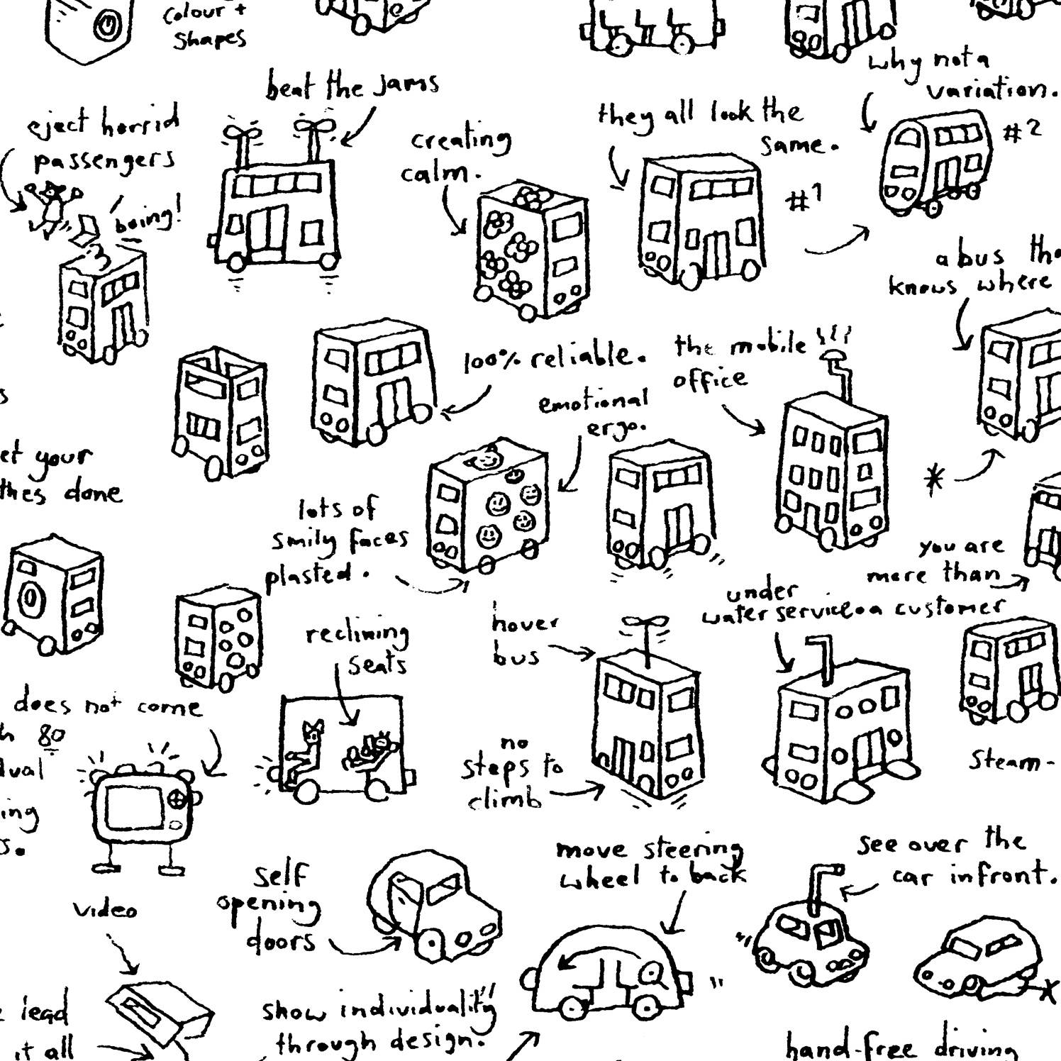 Brainstorm Hand Drawn London Buses 2