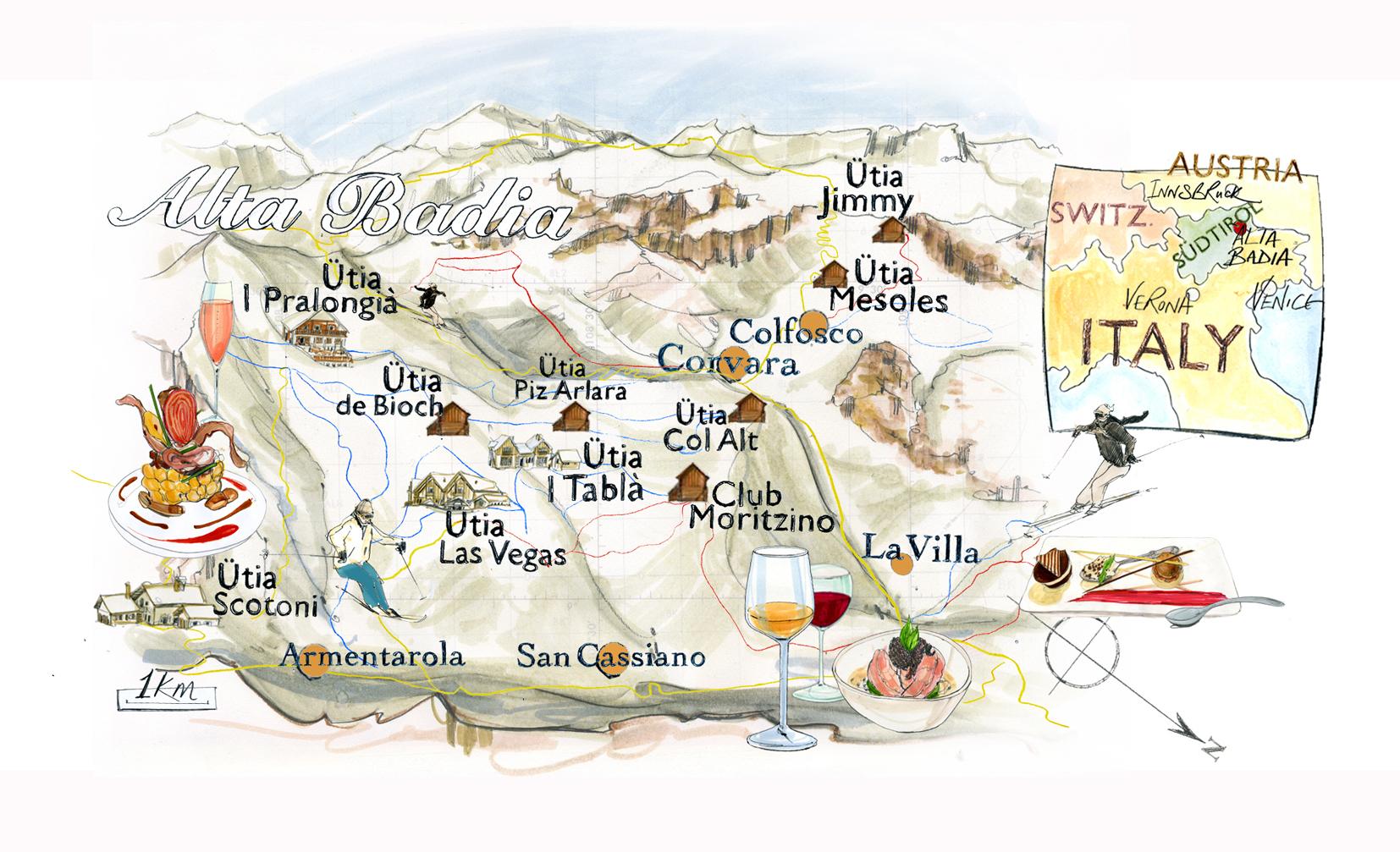 Alta Badia Ski Food And Lodge Map Conde Nast Traveller