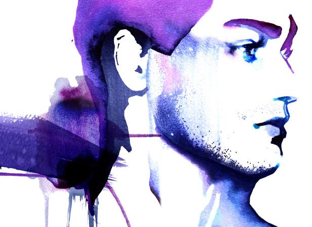 Male Skincare Blue Portrait