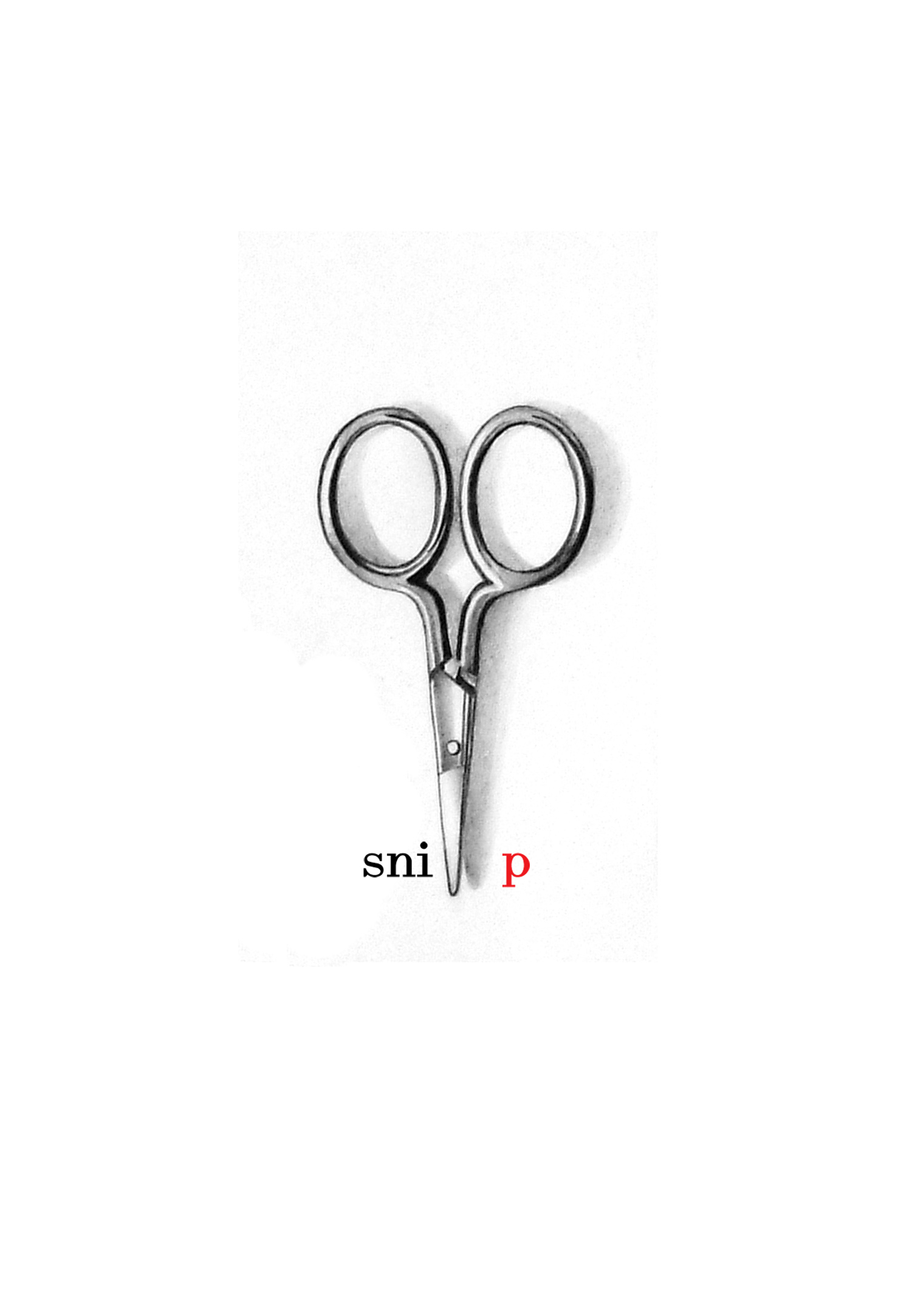 Scissors With Red Snip Lettering