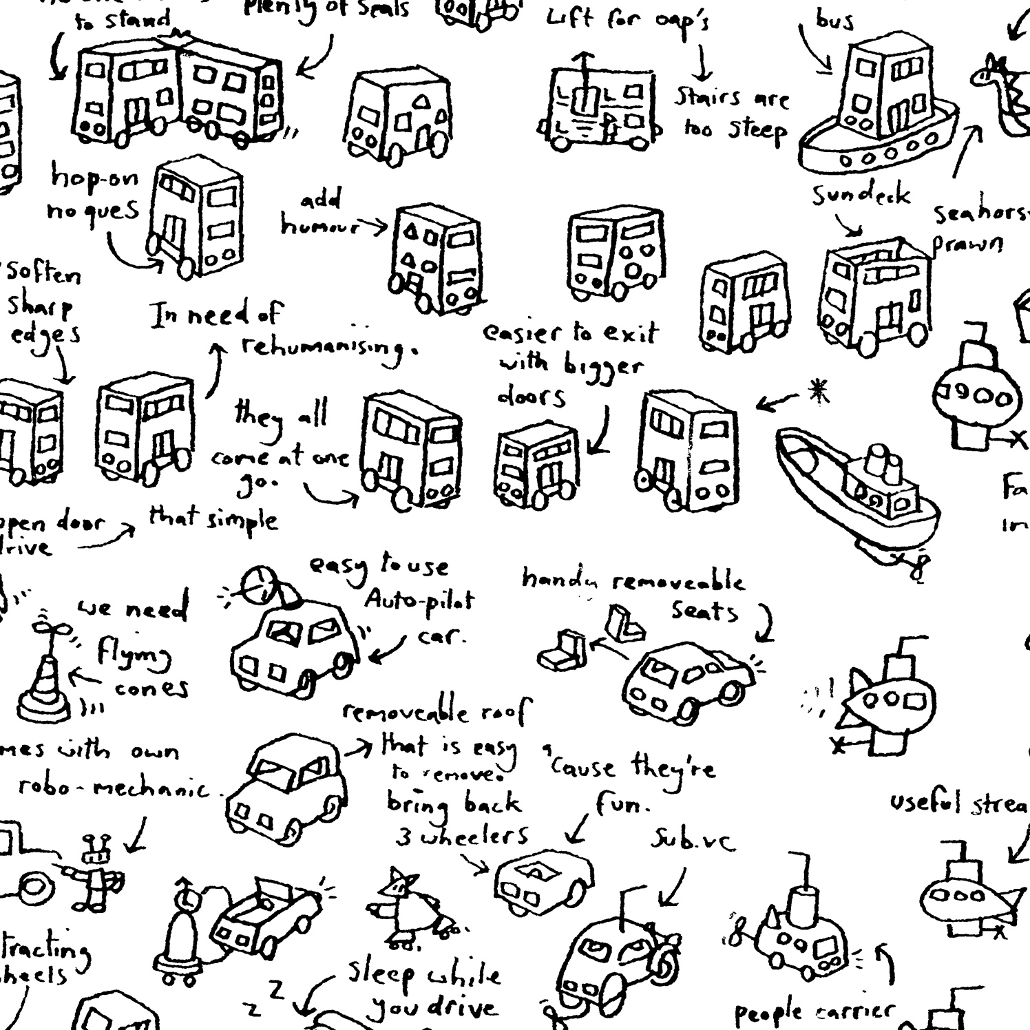 Brainstorm Hand Drawn London Buses
