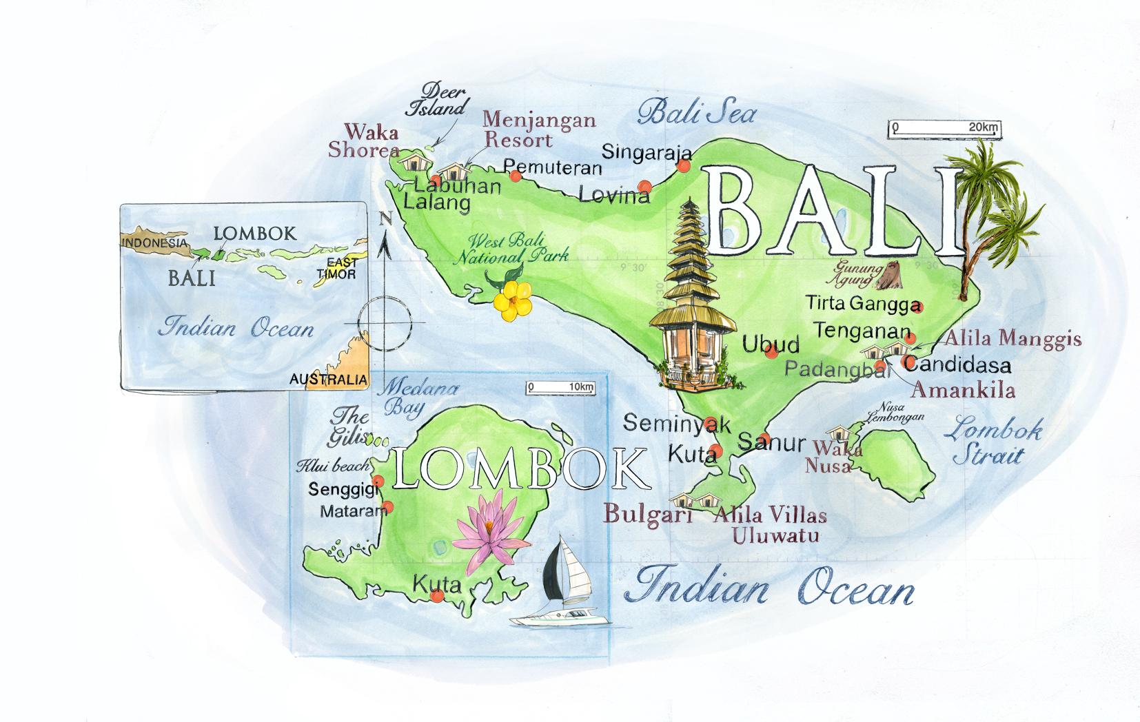 Bali Map / Conde Nast Traveller Magazine