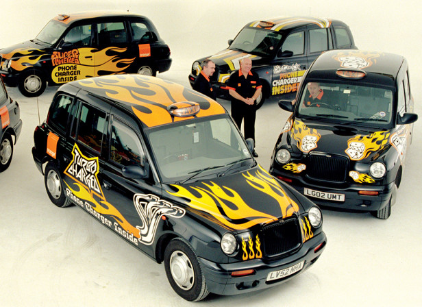 Orange Black Taxi Cabs