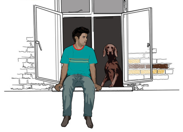 Man And Dog In Window Portrait