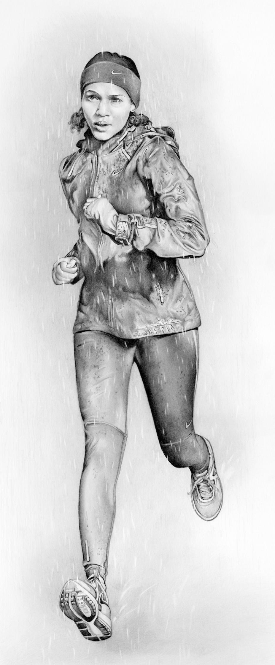 Nike Running Gear Female Runner In Rain