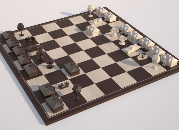 Chessboard With Houses Theatre Brochure