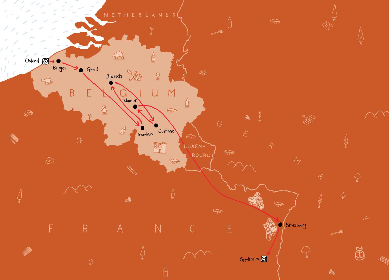 Belgium Map Route
