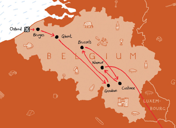 Belgium Map Route