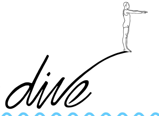 Dive Figure And Hand Lettering