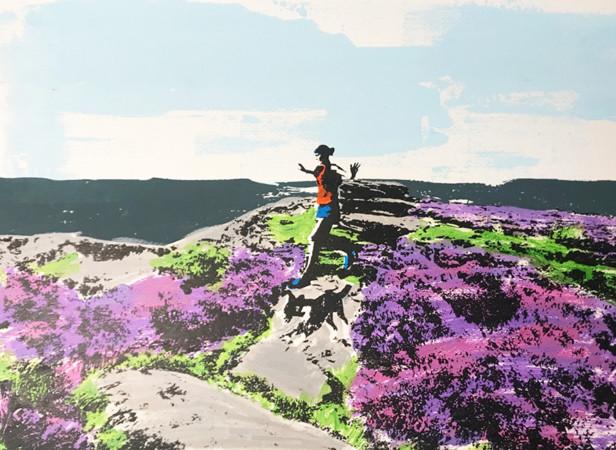 over_owler_tor_trail_running_dog_heather_yorkshire_border_collie_screenprint_katie_edwards_illustration_art.jpg