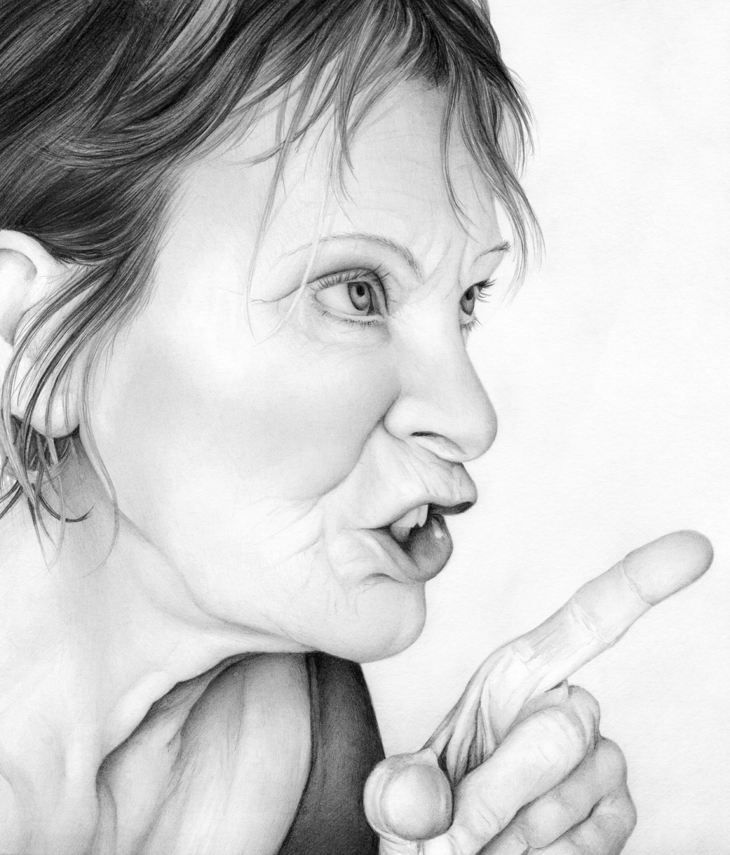 Woman's Face With Pointing Finger