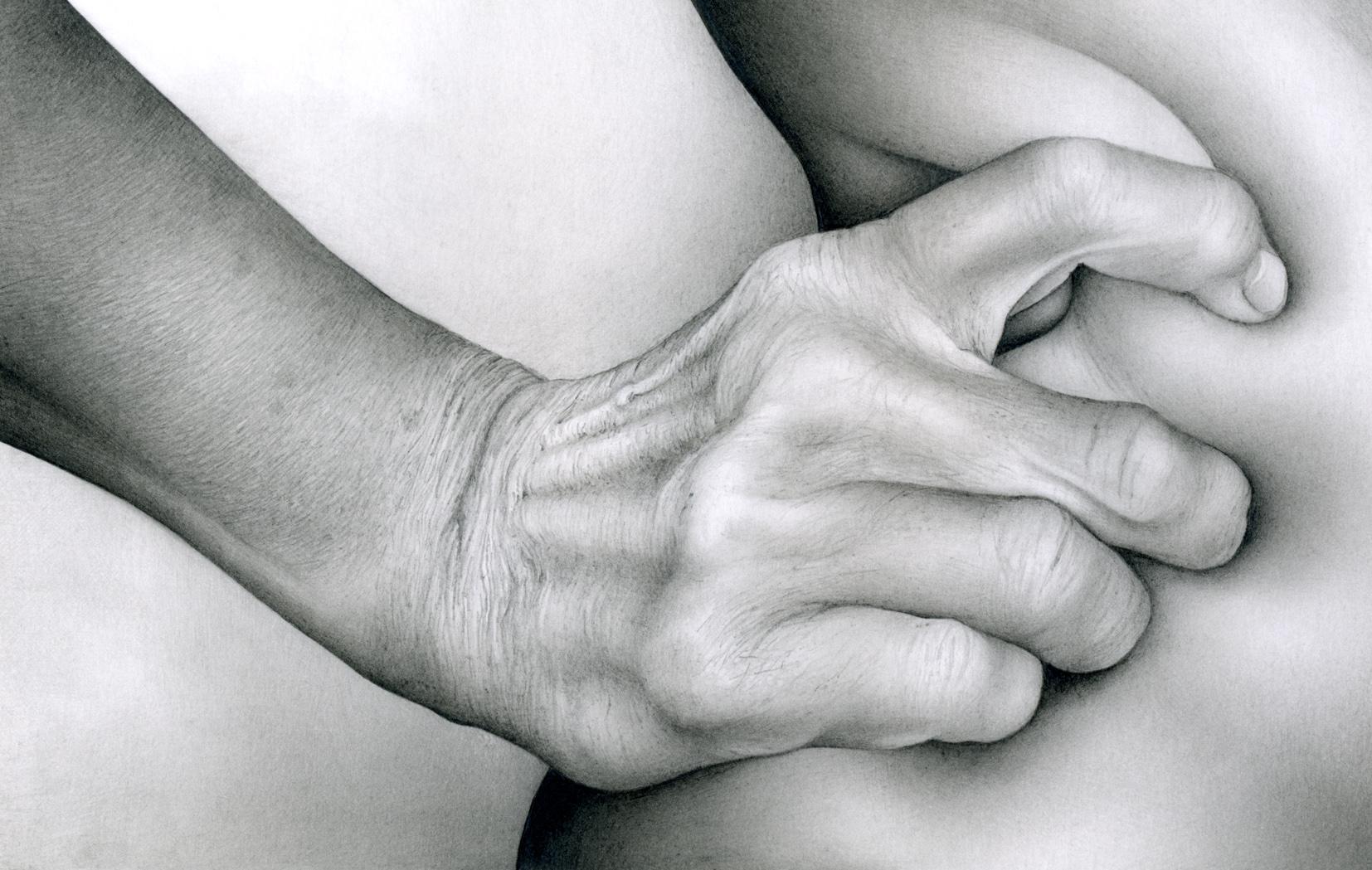 Male Hand Grasping Female Flesh
