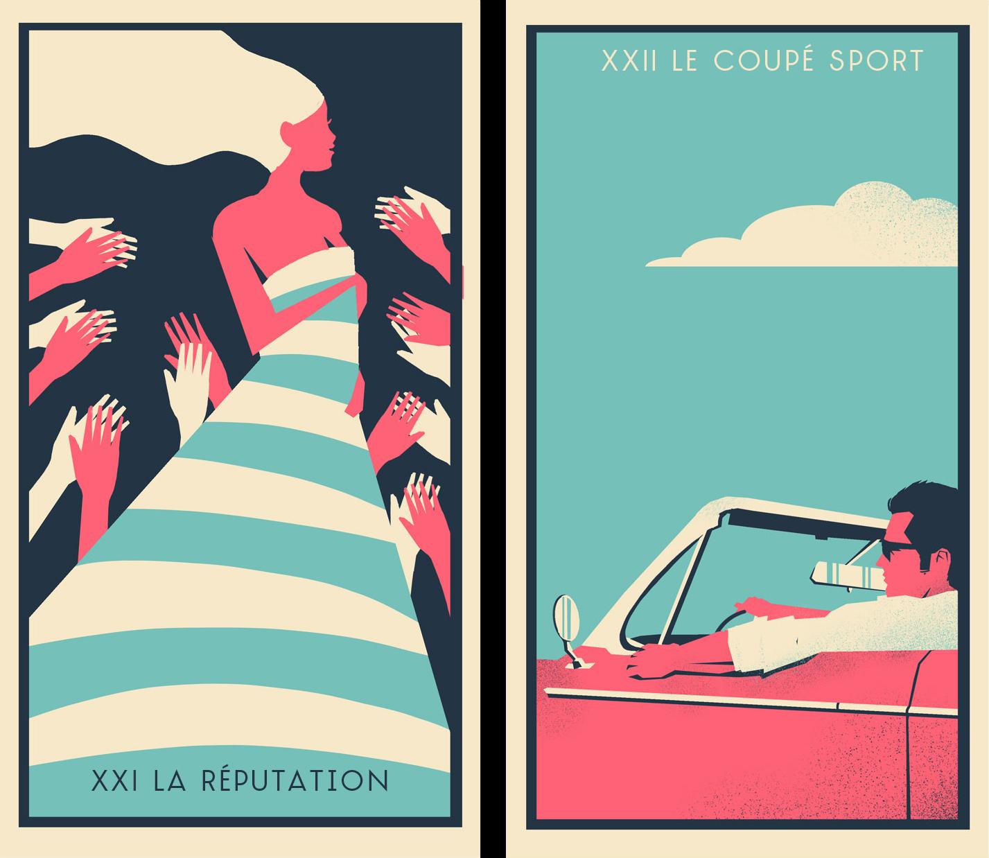 French Cosmopolitan Tarot Cards XXI XXII