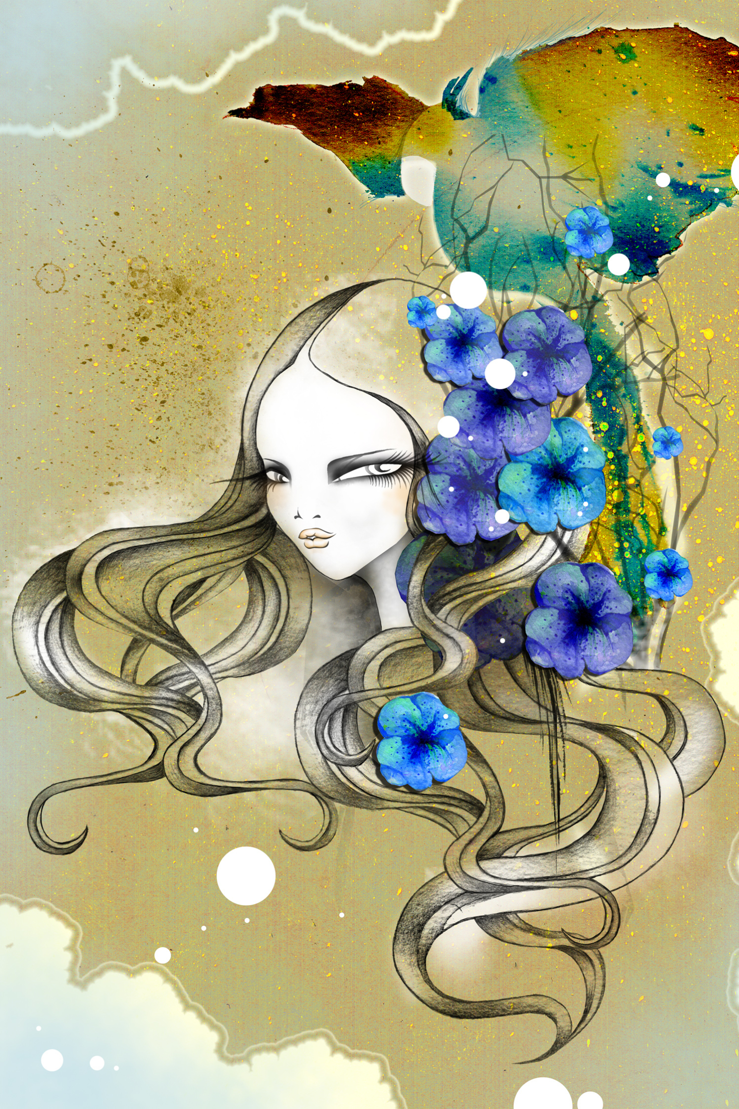Floral Hair Beauty Bird